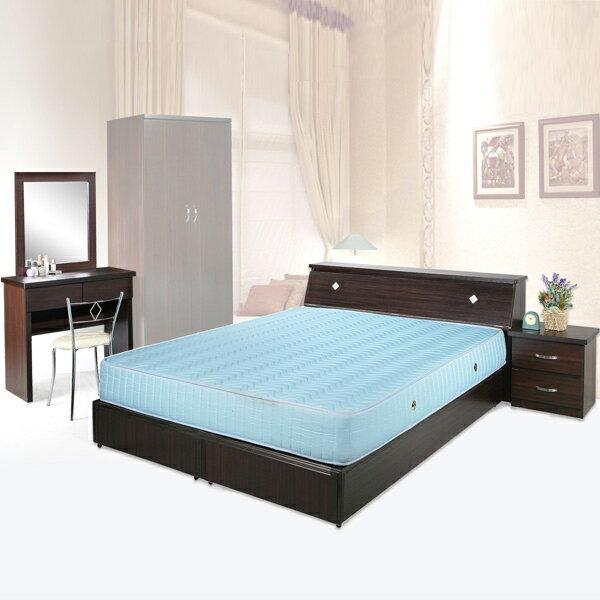 《YoStyle》艾莉5件式房間組(胡桃木紋)(床底+床頭箱+床頭櫃+化妝桌+化妝椅)