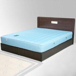 雙人床/床組/床墊/獨立筒/床台/床架/房間組/臥室【Yostyle】朵拉床組+獨立筒床墊-雙人5尺(胡桃木紋)