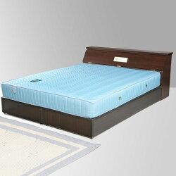 雙人床/床組/床墊/獨立筒/床頭箱/床台/床架/房間組/臥室【Yostyle】席歐床組+獨立筒床墊-雙人5尺(胡桃木紋)