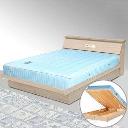 雙人掀床/床墊/獨立筒/床組/雙人床/床台/床架/房間組/臥室【Yostyle】席歐掀床組+獨立筒床墊-雙人5尺(白橡木紋)