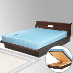 雙人掀床/床墊/獨立筒/床組/雙人床/床台/床架/房間組/臥室【Yostyle】席歐掀床組+獨立筒床墊-雙人5尺(胡桃木紋)