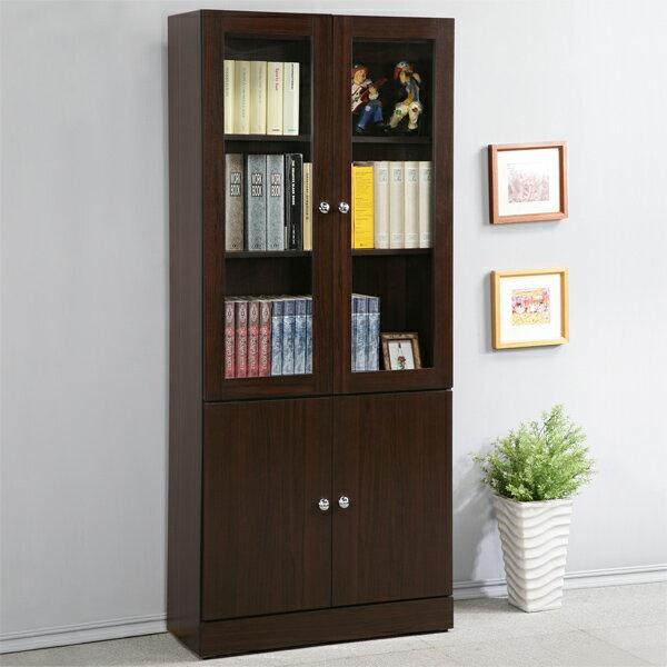 優世代居家生活館:書櫃有門書櫃附抽書櫃大型書櫃收納櫃櫥櫃展示櫃置物櫃收納櫃《YoStyle》幸福2.7尺四門書櫃