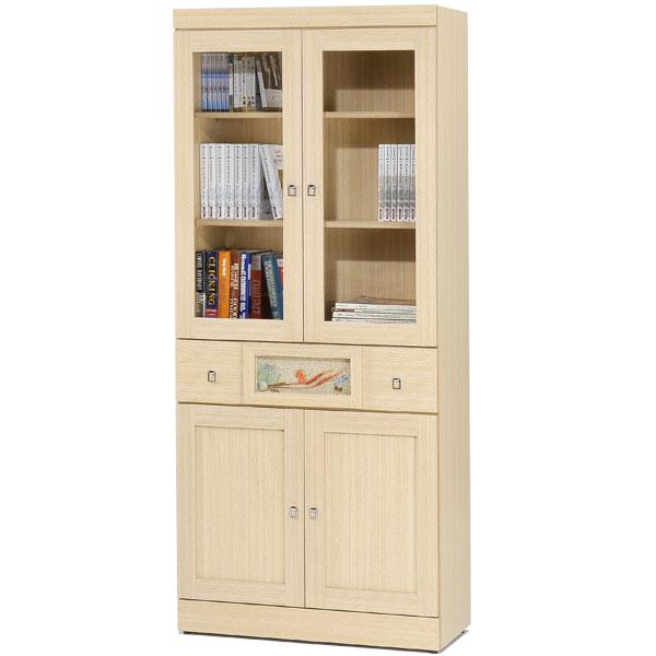 自然風味中抽書櫃(白橡木紋)❘書櫃 有門書櫃 大型書櫃 櫥櫃 展示櫃 置物櫃 收納櫃【Yostyle】