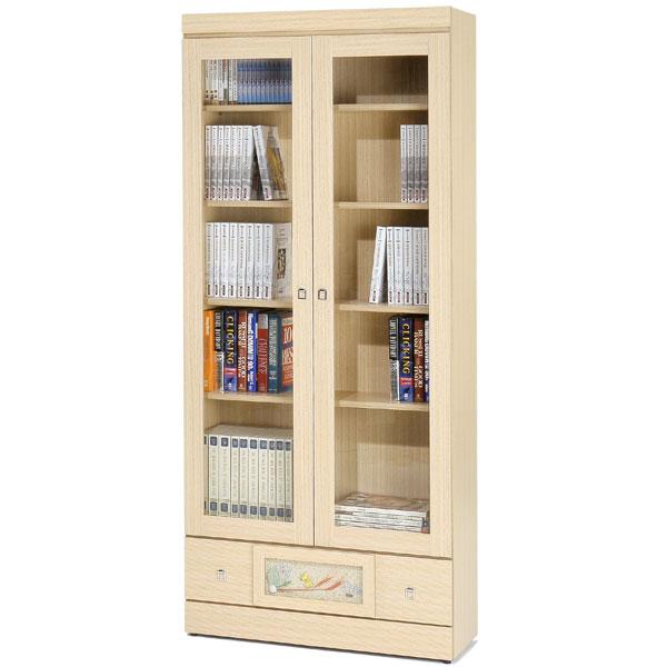 自然風味下抽書櫃(白橡木紋)❘書櫃 有門書櫃 大型書櫃 櫥櫃 展示櫃 置物櫃 收納櫃【Yostyle】