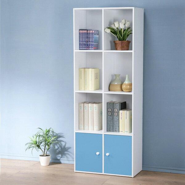 組合櫃 書櫃 置物櫃 空櫃 收納櫃 有門櫃 小書櫃 櫃子 櫥櫃《Yostyle》現代風四層二門置物櫃(三色)