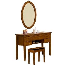化妝桌椅/化妝台/梳妝台/化妝桌/化妝椅/化妝鏡/鏡子/穿衣鏡【Yostyle】亞倫實木化妝桌椅組