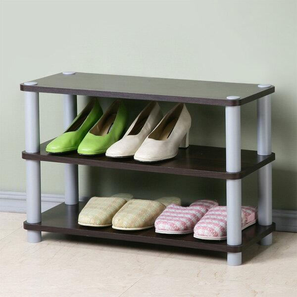 Yostyle 簡約三層開放式鞋架(胡桃色) 鞋櫃 收納櫃 展示架 系統架