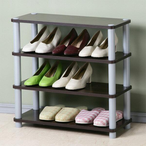 鞋架 開放式鞋架 鞋櫃 收納架 置物架 簡易鞋架 系統架《Yostyle》簡約四層開放式鞋架(胡桃色)