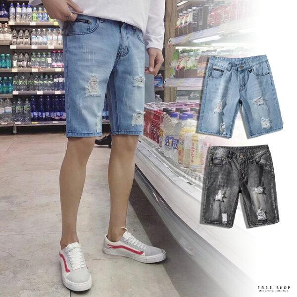 FreeShop刷白破壞牛仔短褲破牛仔短褲破洞牛仔短褲刷破牛仔短褲黑色藍色單寧丹寧短褲【QMDYBA605】