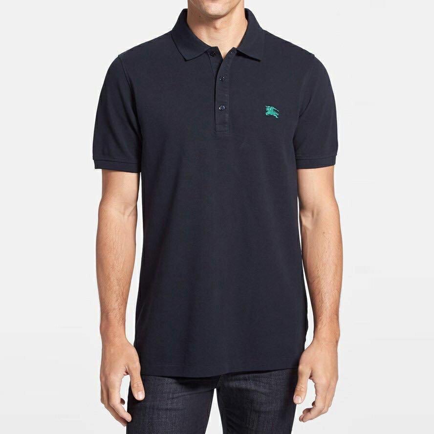 美國百分百【全新真品】Burberry 短袖 polo衫 素面 綠戰馬 logo 英倫 精品 深藍色 S/L號 J696