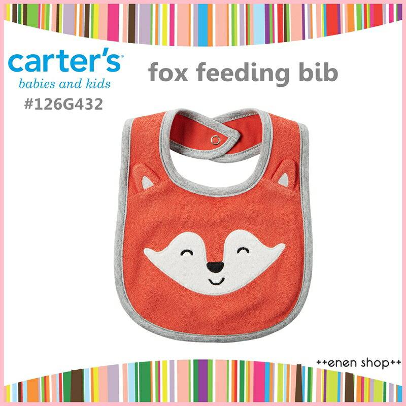 ++enen shop++ Carter's 紅色狐狸款口水巾/餵食圍兜 #126G432 新生兒/彌月禮 *鈕釦款*