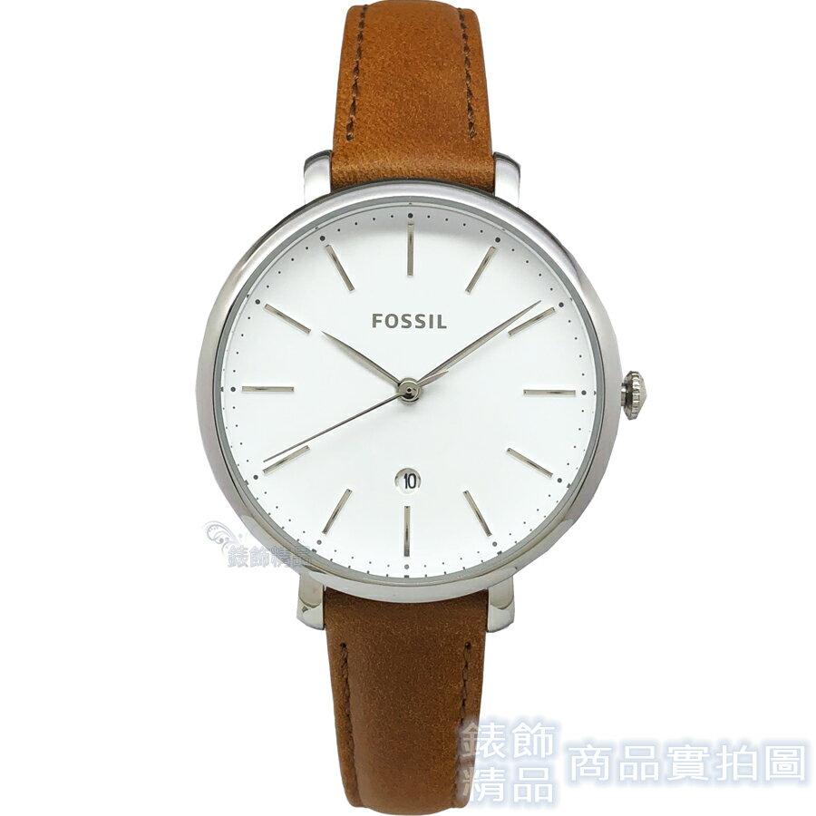 FOSSIL 手錶 ES4368 日期 銀框咖啡色皮帶 女錶 全新正品【錶飾精品】