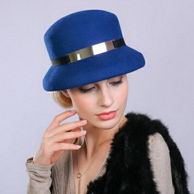 羊毛呢帽禮帽-帥氣有型鐵圈裝飾女帽子3色73tk50【獨家進口】【米蘭精品】