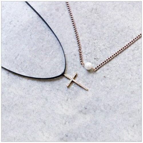 美麗新晴【SE0054】水鑽十字架皮繩珍珠雙層頸鍊/項鍊 現+預