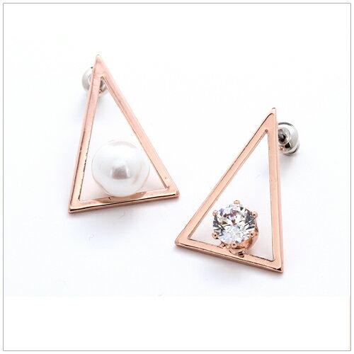 美麗新晴~SE2861~三角鏤空珍珠水鑽不對稱耳環 現 預 ~  好康折扣