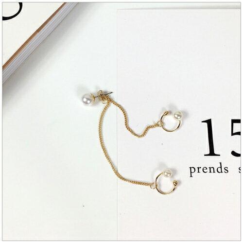 美麗新晴【SE9440】潮流個性金屬鍊條珍珠單邊耳環/耳夾 現+預