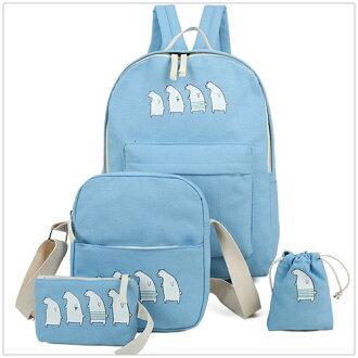 美麗新晴【SK1362】可愛北極熊帆布後背包/子母包四件組 現+預