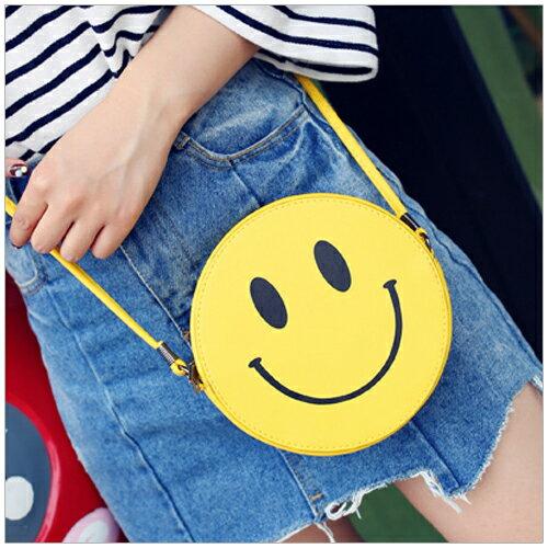 美麗新晴~SK3349~黃色微笑皮革圓形小巧斜背包 現 預 ~  好康折扣