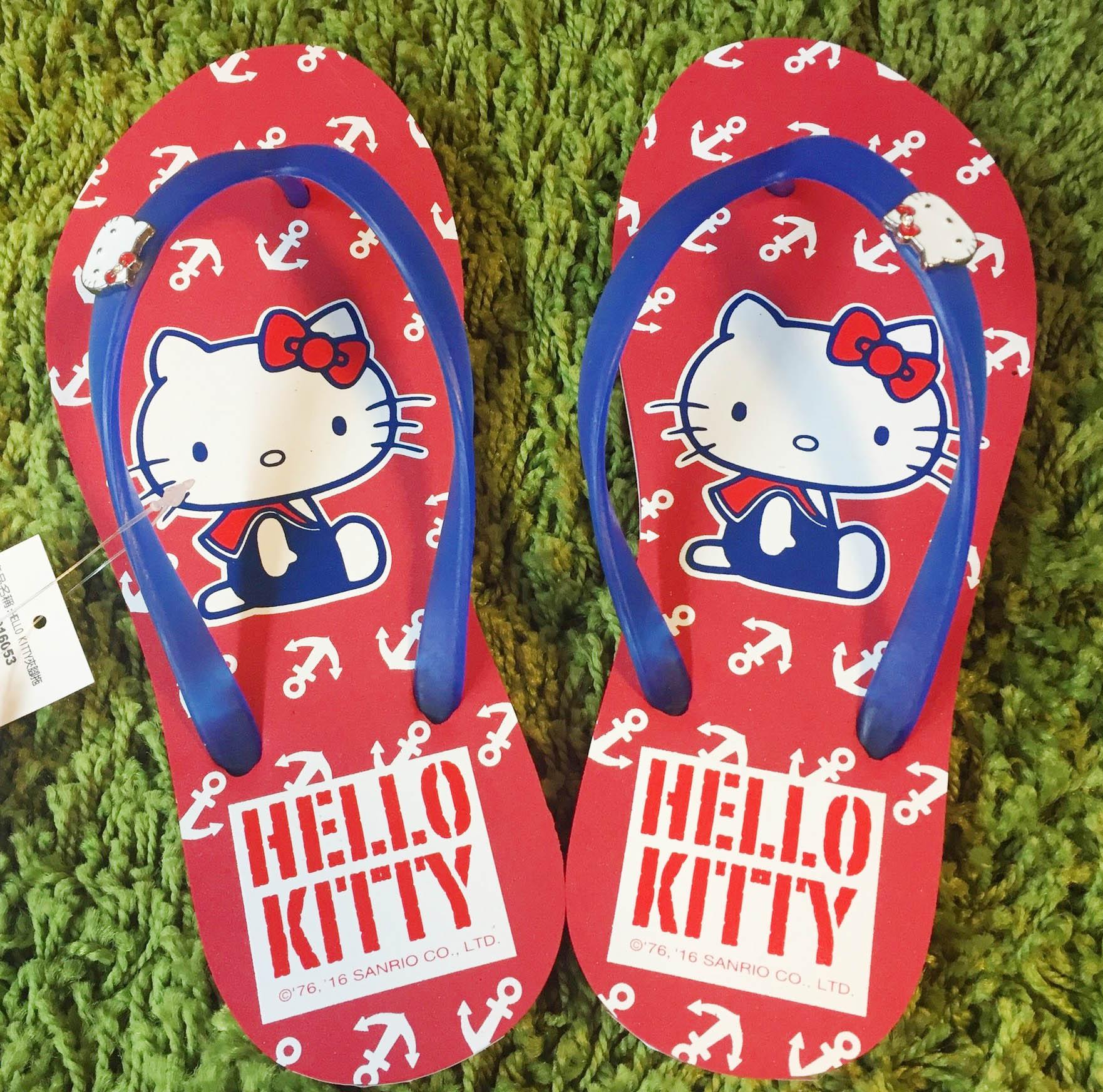 【真愛日本】夾腳拖916053-藍 36~40 三麗鷗 Hello Kitty 凱蒂貓 居家 拖鞋 正品 限量 預購