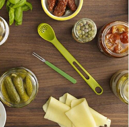 【省錢博士】廚房綠色長柄漏勺 / 食品級奶昔罐頭撈勺果叉二合一
