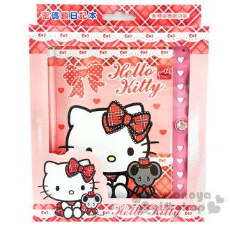 〔小禮堂〕Hello Kitty 造型密碼鎖日記本《紅粉.坐姿.格紋.老鼠》別緻硬厚殼封面