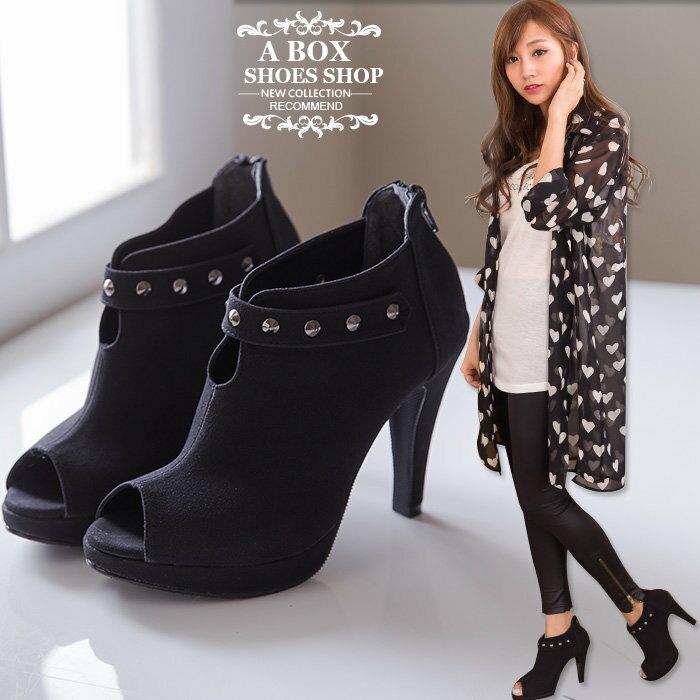格子舖*【KP672】MIT台灣製 時尚質感絨布 個性金屬鉚釘 性感魚口細高跟短靴裸靴 黑絨 0