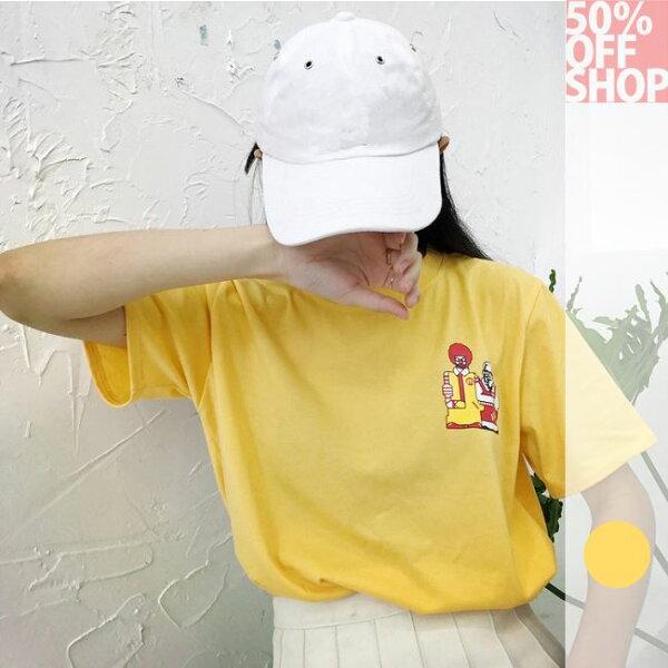 50%OFFSHOPulzzang惡搞童年記憶印花寬鬆短袖t恤原宿風男女上衣(1色)【G035657C】