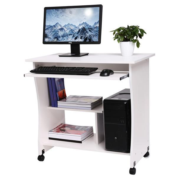 Movable Wooden Table Computer Desk Workstation with Keyboard Shelf 1
