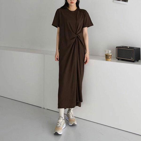 ANNAS 正韓側邊扭結懶人裙洋裝短袖長裙 長洋休閒長版T顯瘦寬鬆棉質韓國