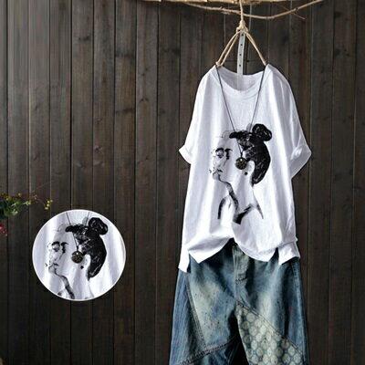 短袖T恤打底衫-時尚女孩印花休閒女上衣73sj7【獨家進口】【米蘭精品】