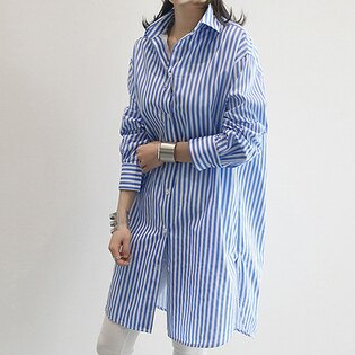 ★全店799結帳輸入代碼『WE9R-BFQJ-AVK2-L1YA』現折$79★*ORead*韓範藍條紋襯衣裙(2色S~2XL)