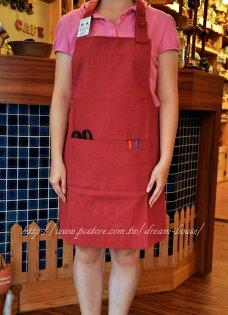 日式素面帆布防水圍裙紅黑任選《ZJ-001-RBK》★超有質感喔★夢想家Zakka'fe