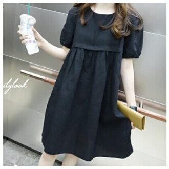 連身裙 高腰娃娃裝棉麻洋裝 韓國 時尚 預購【67-16-88080】ibella 艾貝拉