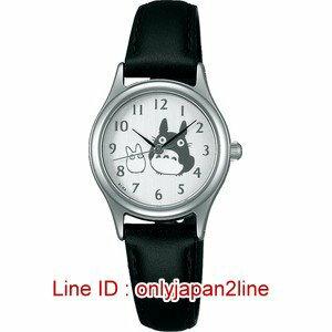 【真愛日本】16122200020雙龍貓圓型銀邊黑皮帶手錶  龍貓TOTORO豆豆龍 手錶 鐘錶 日本帶回*預購
