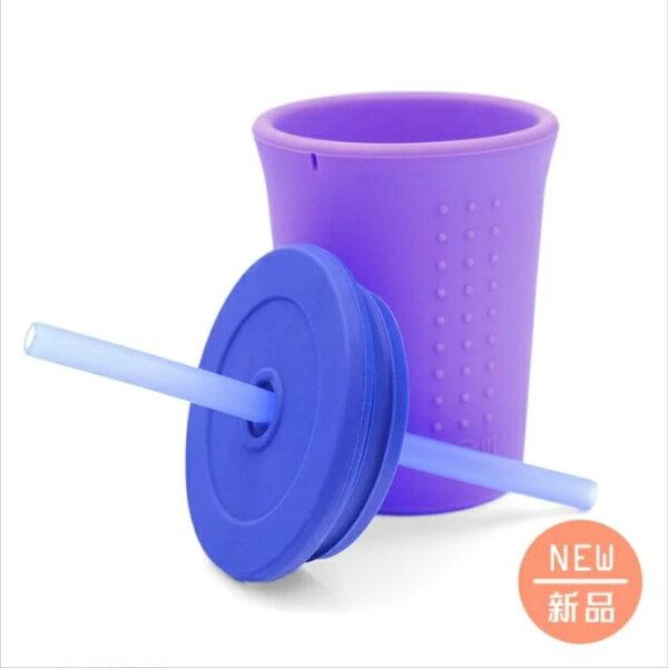 美國【silikids】果凍餐具-TOGO矽膠吸管杯組12oz-4色