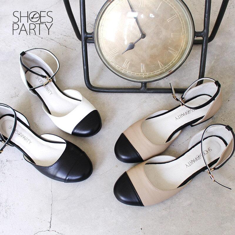 【P2-17112L】真皮拼接平底赫本鞋_Shoes Party 0