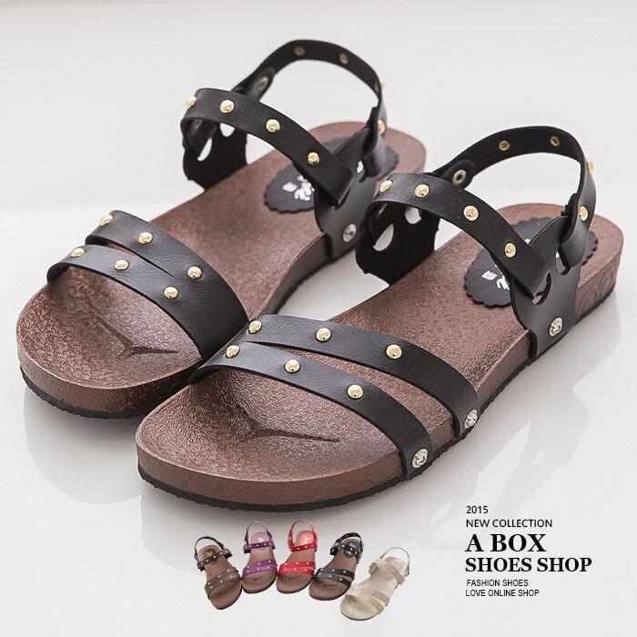 ~AND885~MIT 製 率性休閒金屬鉚釘 兩穿式 羅馬風涼鞋平底拖鞋 5色
