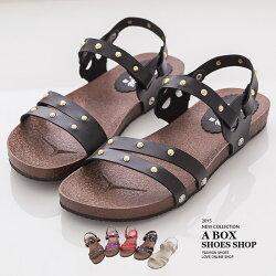 MIT台灣製 率性休閒金屬鉚釘 兩穿式 羅馬風涼鞋平底拖鞋  5色【AND885】