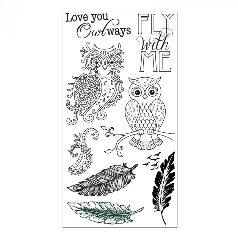 661141 透明印章-貓頭鷹與羽毛