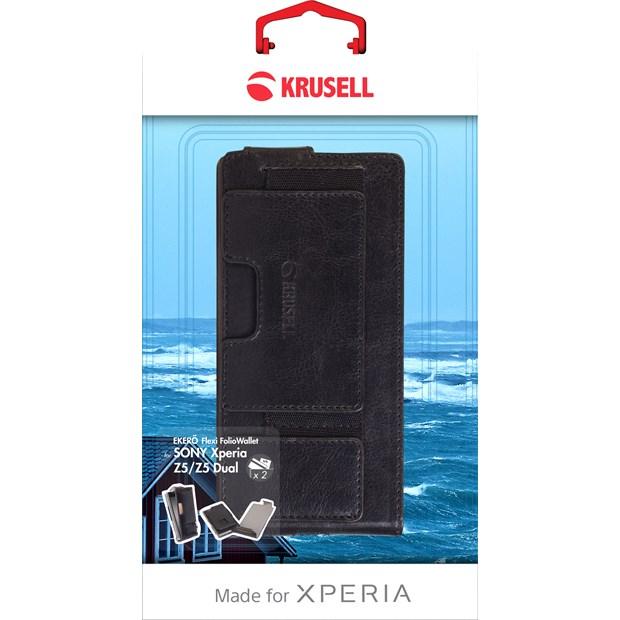 (贈專用保貼+支架)Krusell皮革下掀皮套/SONY Xperia Z5/保護皮套/手機殼/手機皮套【馬尼通訊】