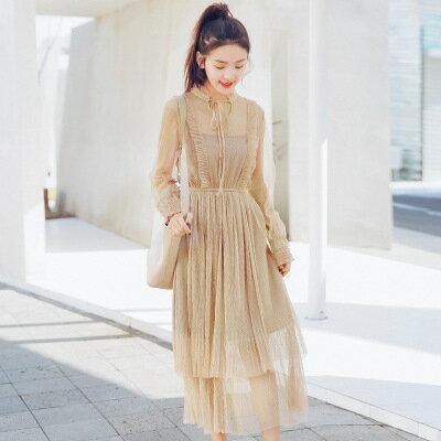 純色假兩件中長款鬆緊腰蕾絲連身裙洋裝樂天時尚館。預購。[全店免運]