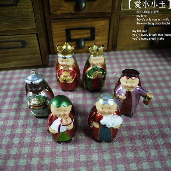 【限量版:國王的財富】陶瓷趣味擺件結婚禮物時尚可愛家居飾品6個組