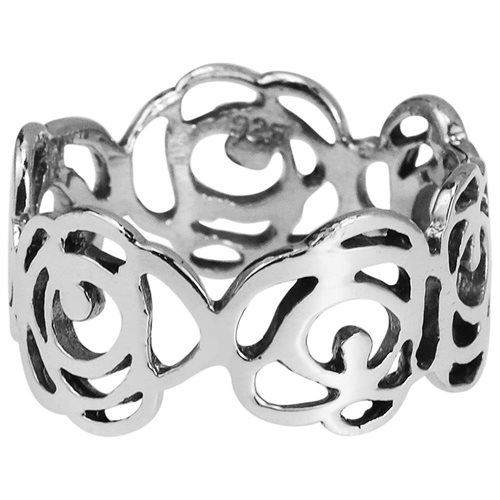 Open Abstract Rose Flower Band Sterling Silver Ring 1