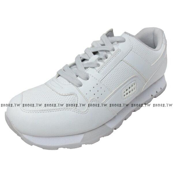 《限時特價799元》 Shoestw【63M1MK65RW】PONY復古慢跑鞋 全白 附灰鞋帶 男款 3