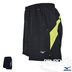 MIZUNO 美津濃 男 單層路跑褲 (黑*螢光黃) 輕量、兩側、背部口袋