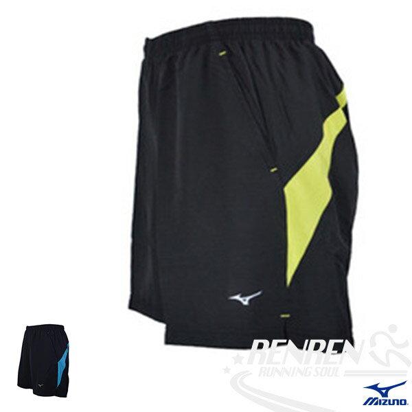 MIZUNO美津濃男單層路跑褲(黑*螢光黃)輕量、兩側、背部口袋
