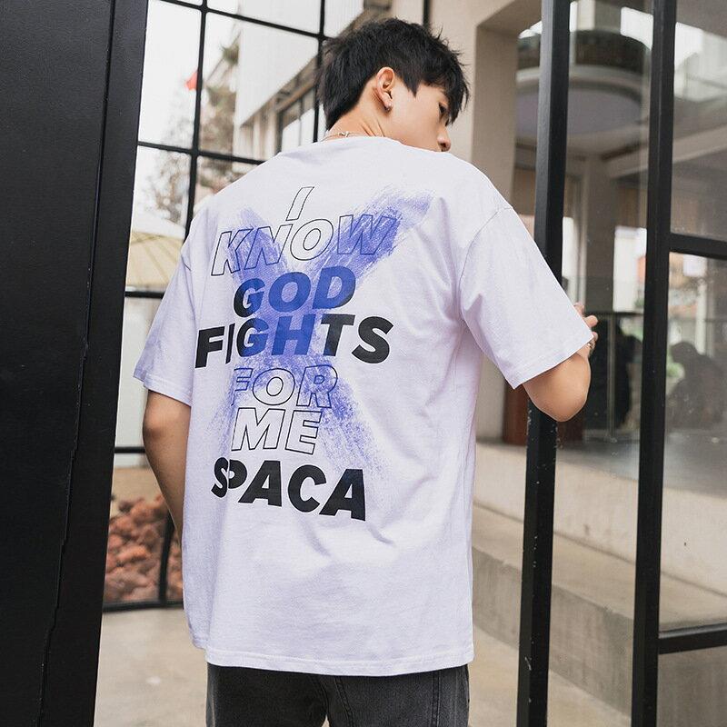 男裝2021夏季新款短袖T恤寬鬆印花半袖體恤純棉t恤打底衫男
