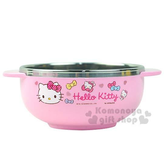 〔小禮堂韓國館〕Kitty 雙耳不鏽鋼碗《小.粉.大臉.蝴蝶結.愛心》LOCK&LOCK系列