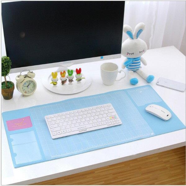 大尺寸雙層收納辦公桌墊 超大電腦墊 辦公桌墊 清新多功能超大電腦墊 PVC防水墊 滑鼠墊【AF077】