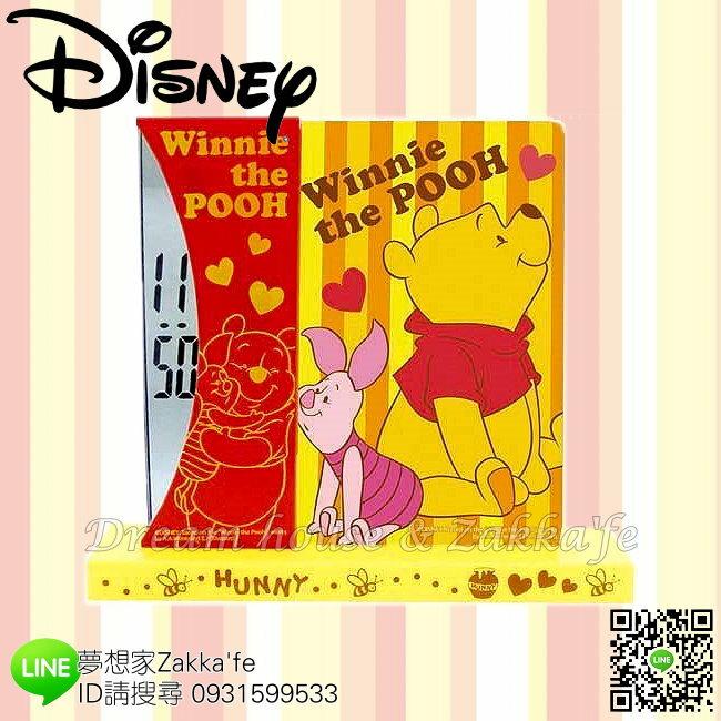 日本正版 Disney 迪士尼 小熊維尼 Winnie the Pooh 桌上型 兩用 時鐘/相框《 電子顯示超安靜 》★ 簡單時尚可愛 ★ 夢想家精品家飾